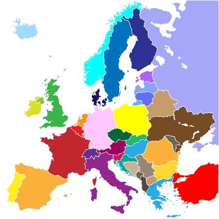 carte europe: carte de l'Europe (fronti�re du pays) Illustration