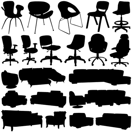 office chairs: modern office chair and armchair (interior design objects)  Illustration