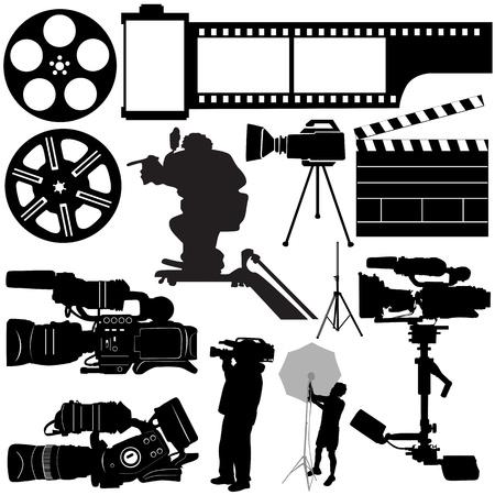 omroep: film, camera en apparatuur  Stock Illustratie