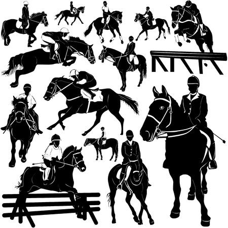 silueta ciclista: caballo, ecuestre (detalles)