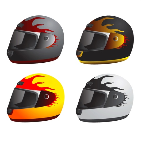 casco de moto: casco de motocicleta (tipo de carrera)  Vectores