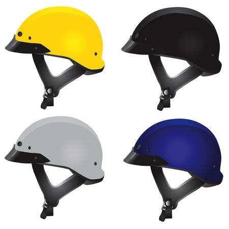 casco de moto: casco de motocicleta (tipo de helic�ptero)  Vectores
