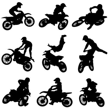 moto da cross: set di moto  Vettoriali