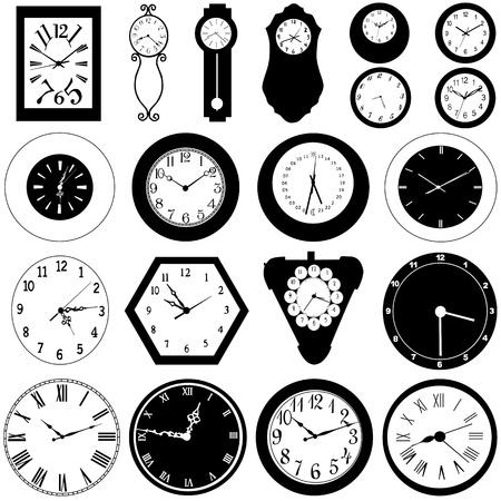 orologio da parete: collezione di orologio da parete  Vettoriali