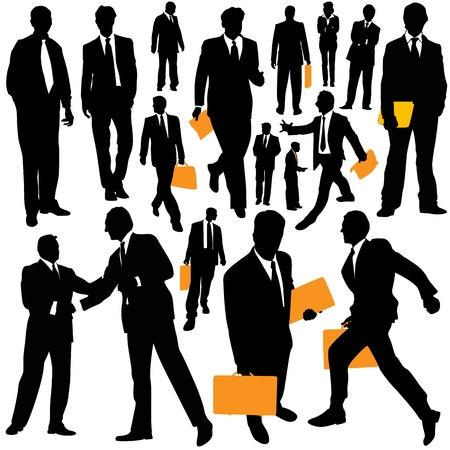 donna con telefono: uomini d'affari