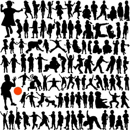 siluetas de mujeres: 100 ni�os  Vectores