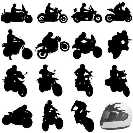 silueta moto: conjunto de motocicleta