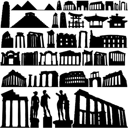 hellenic: historical building and city  Illustration