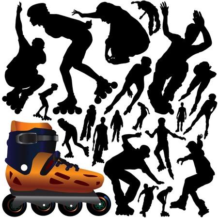 patinaje: m�dulos de rodillos Vectores