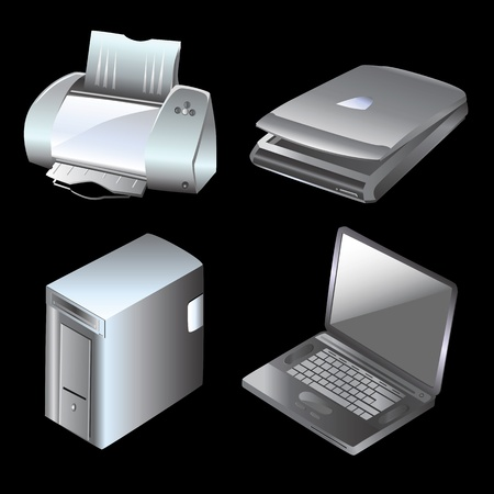 computer and equipments vector  Vector