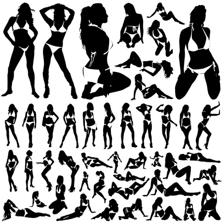beautiful breasts: collection of women in bikini vector  Illustration