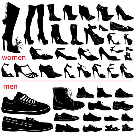 vrouwen en mannen schoenen vector  Vector Illustratie