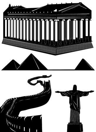 a wonderful world: historical buildings vector (pyramid, chine wall, greek temple, sculptor, egypt)