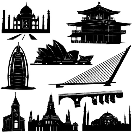 historical landmark: urban architecture building vector