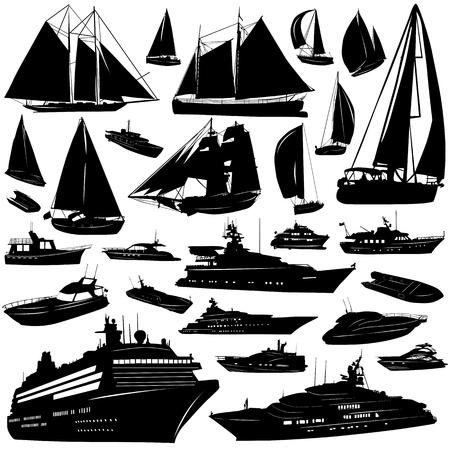 colección de vectores de transporte de mar (crucero, motor-yatch, bote de vela) Ilustración de vector