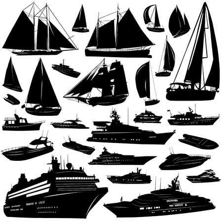 capitan de barco: colecci�n de vectores de transporte de mar (crucero, motor-yatch, bote de vela)