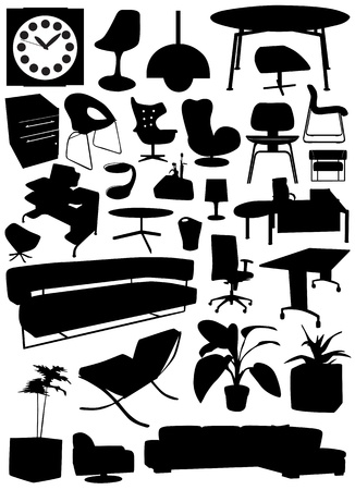 business-office interior design objects  Vector