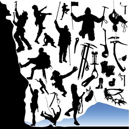 クライマー: 登山家や機器のコレクション  イラスト・ベクター素材