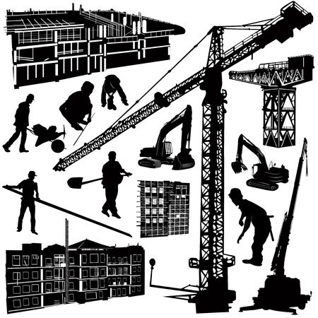 drilling machine: construction objects vector (crane - worker - building - skimmer)