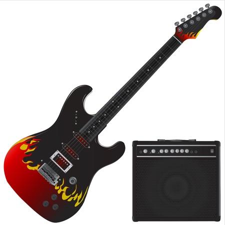 resonancia: vector de guitarra y amp