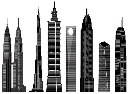 dramatic sky: vector de edificios rascacielos Vectores