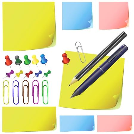 mention: post it, note paper, pencil, pen, office pack ( different color )