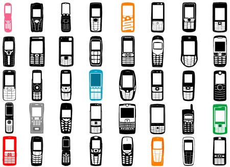 cordless phone: collection of mobile phone vector