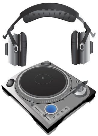 turntable and headphone vector (details)  Vector