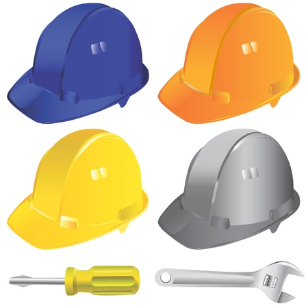 screw head: construction workers hard hat vector Illustration