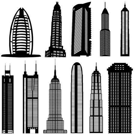 dramatic sky: vector de edificios rascacielos
