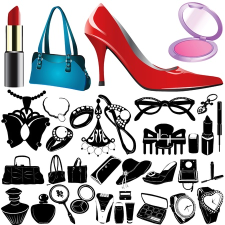 fashion make up: set of women accessories vector