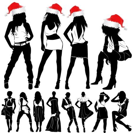 christmas fashion sexy women  Vector