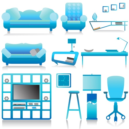 modern furniture, interior design vector Vector