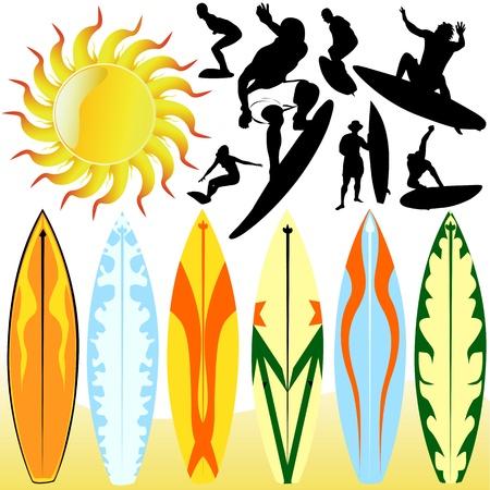 surfboards: surfing vector