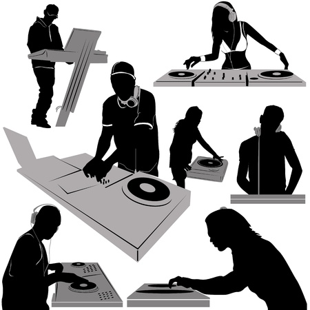 dj: dj and turntable vector