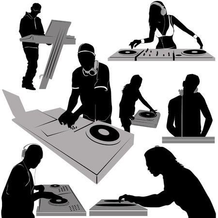 fiesta dj: DJ y tocadiscos de vectores