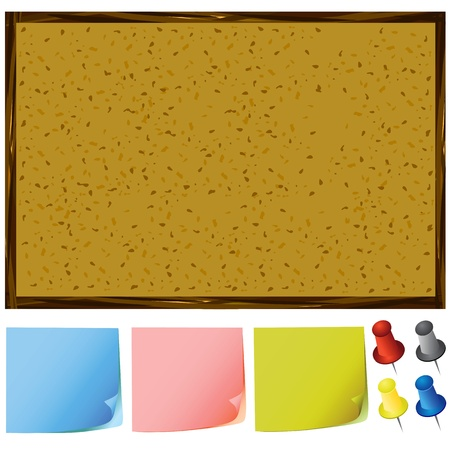notice board and post-it notes, pins vector Stock Vector - 9505745