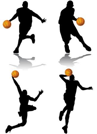 canestro basket: vettore di giocatore di basket Vettoriali