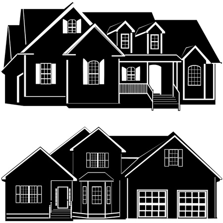 houses exterior: residences building vector Illustration