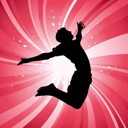 felicit�: uomo che salta