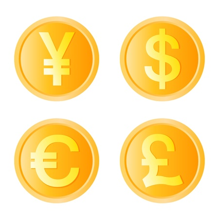 pound sign: gold coin, four monetary unit vector
