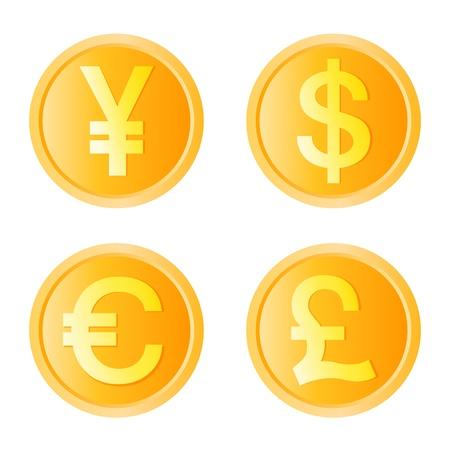 pièce d'or, vecteur de quatre unités monétaires Vecteurs