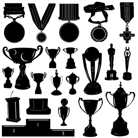 sports reward vector (medal, cup and other objects)  Vector