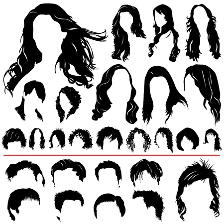 women and men hair vector (different style)  Vector