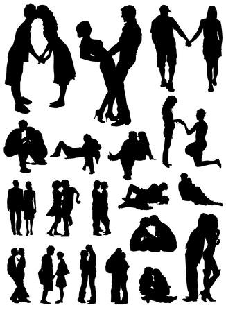 siluetas de enamorados: los amantes de vectores