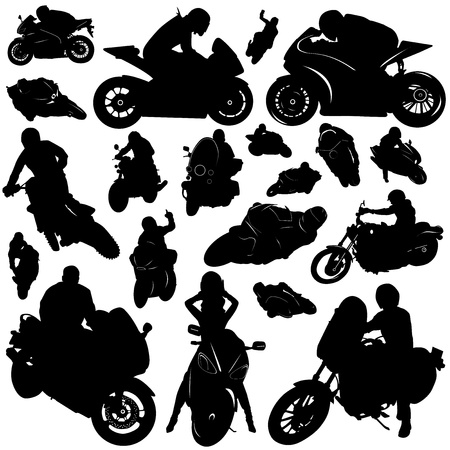 motorcycle rider: collection of motorcycle and rider vector