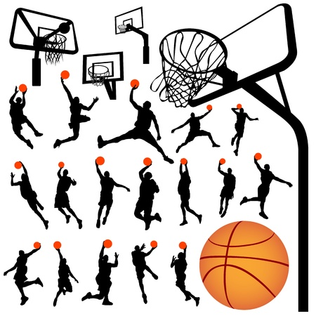 hoops: basketball and backboard vector  Illustration