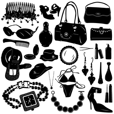 fashion make up: collection of women accessories vector  Illustration