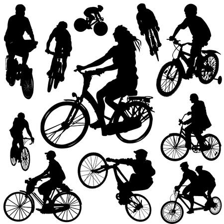 silueta ni�o: vector de bicicleta