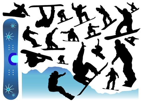 collection of snowboard vector Vector